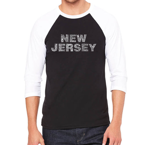 LA Pop Art Men's Raglan Baseball Word Art T-shirt - NEW JERSEY NEIGHBORHOODS