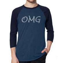 Load image into Gallery viewer, LA Pop Art Men's Raglan Baseball Word Art T-shirt - OMG