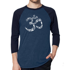 LA Pop Art Men's Raglan Baseball Word Art T-shirt - THE OM SYMBOL OUT OF YOGA POSES