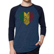Load image into Gallery viewer, LA Pop Art Men's Raglan Baseball Word Art T-shirt - One Love Heart