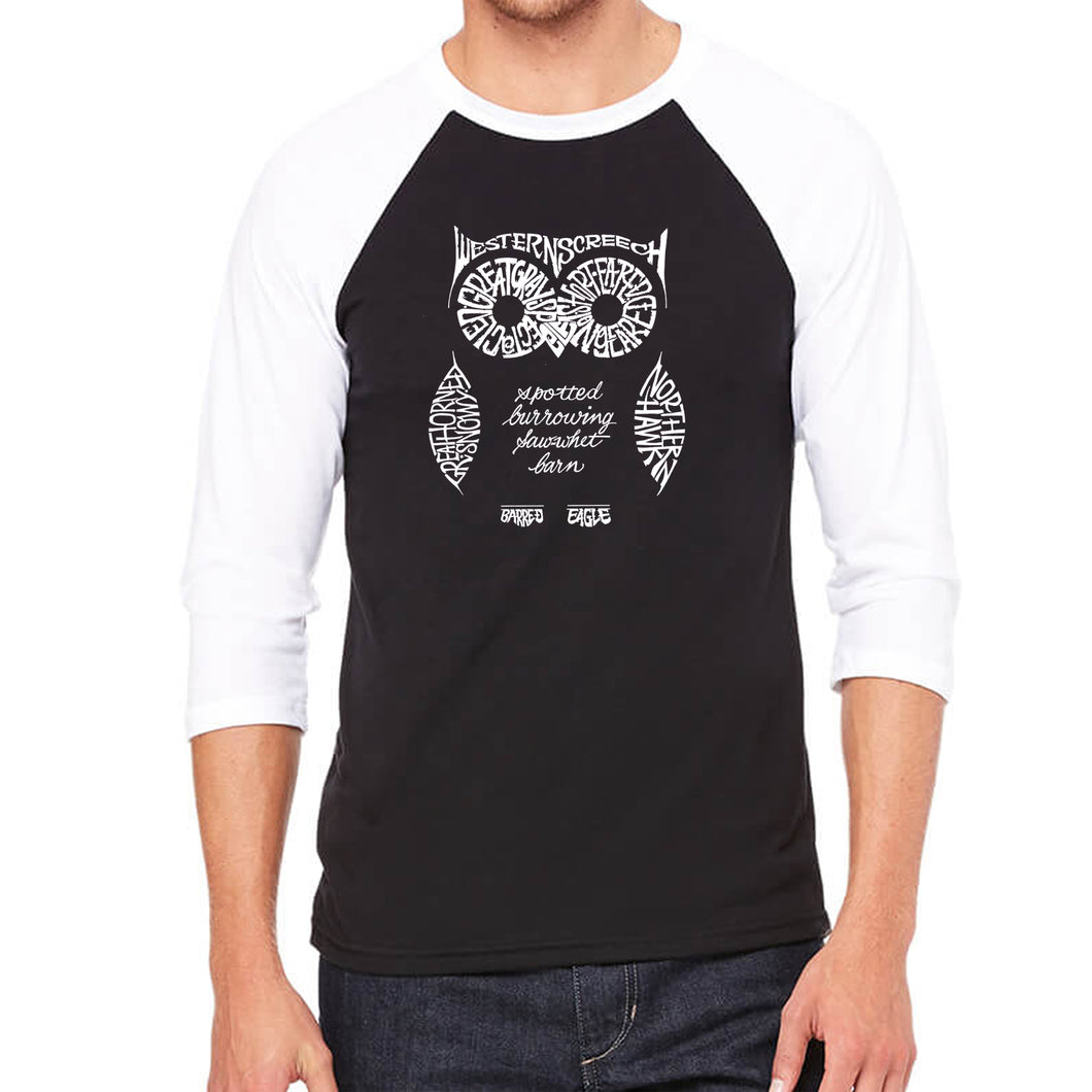 LA Pop Art Men's Raglan Baseball Word Art T-shirt - Owl