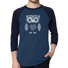 Load image into Gallery viewer, LA Pop Art Men's Raglan Baseball Word Art T-shirt - Owl