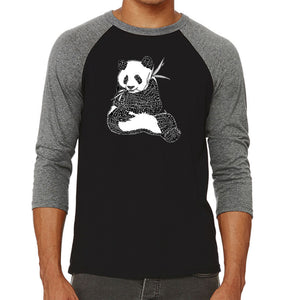 LA Pop Art Men's Raglan Baseball Word Art T-shirt - ENDANGERED SPECIES