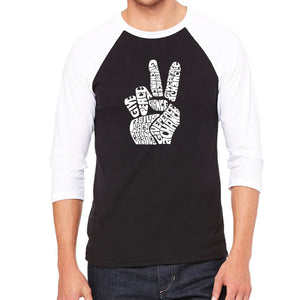LA Pop Art Men's Raglan Baseball Word Art T-shirt - PEACE FINGERS