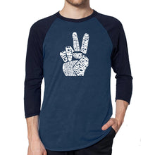 Load image into Gallery viewer, LA Pop Art Men's Raglan Baseball Word Art T-shirt - PEACE FINGERS