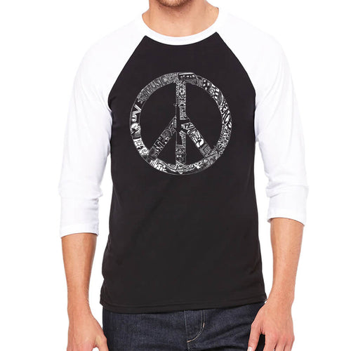 LA Pop Art Men's Raglan Baseball Word Art T-shirt - PEACE, LOVE, & MUSIC
