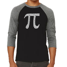 Load image into Gallery viewer, LA Pop Art Men's Raglan Baseball Word Art T-shirt - THE FIRST 100 DIGITS OF PI