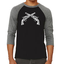 Load image into Gallery viewer, LA Pop Art Men's Raglan Baseball Word Art T-shirt - CROSSED PISTOLS