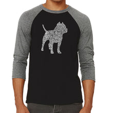 Load image into Gallery viewer, LA Pop Art Men's Raglan Baseball Word Art T-shirt - Pitbull