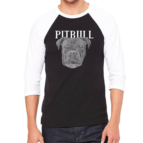 LA Pop Art Men's Raglan Baseball Word Art T-shirt - Pitbull Face