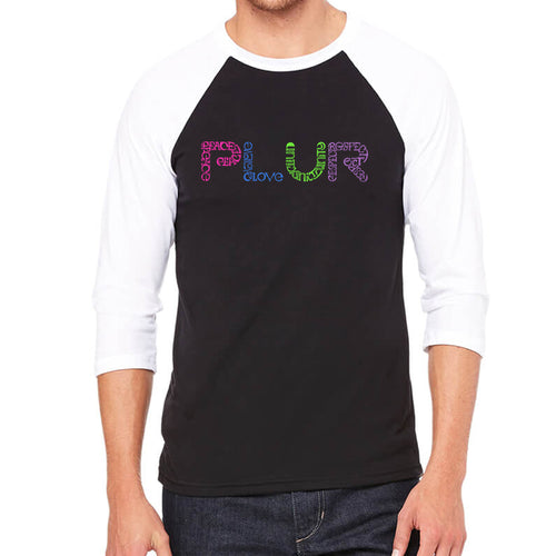 LA Pop Art Men's Raglan Baseball Word Art T-shirt - PLUR
