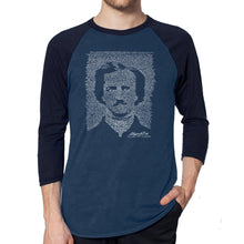 Load image into Gallery viewer, LA Pop Art Men's Raglan Baseball Word Art T-shirt - EDGAR ALLAN POE - THE RAVEN