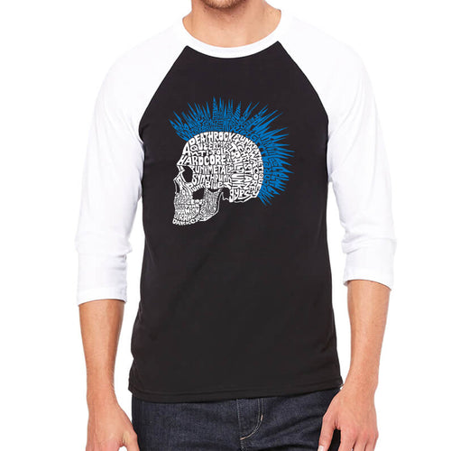 LA Pop Art Men's Raglan Baseball Word Art T-shirt - Punk Mohawk