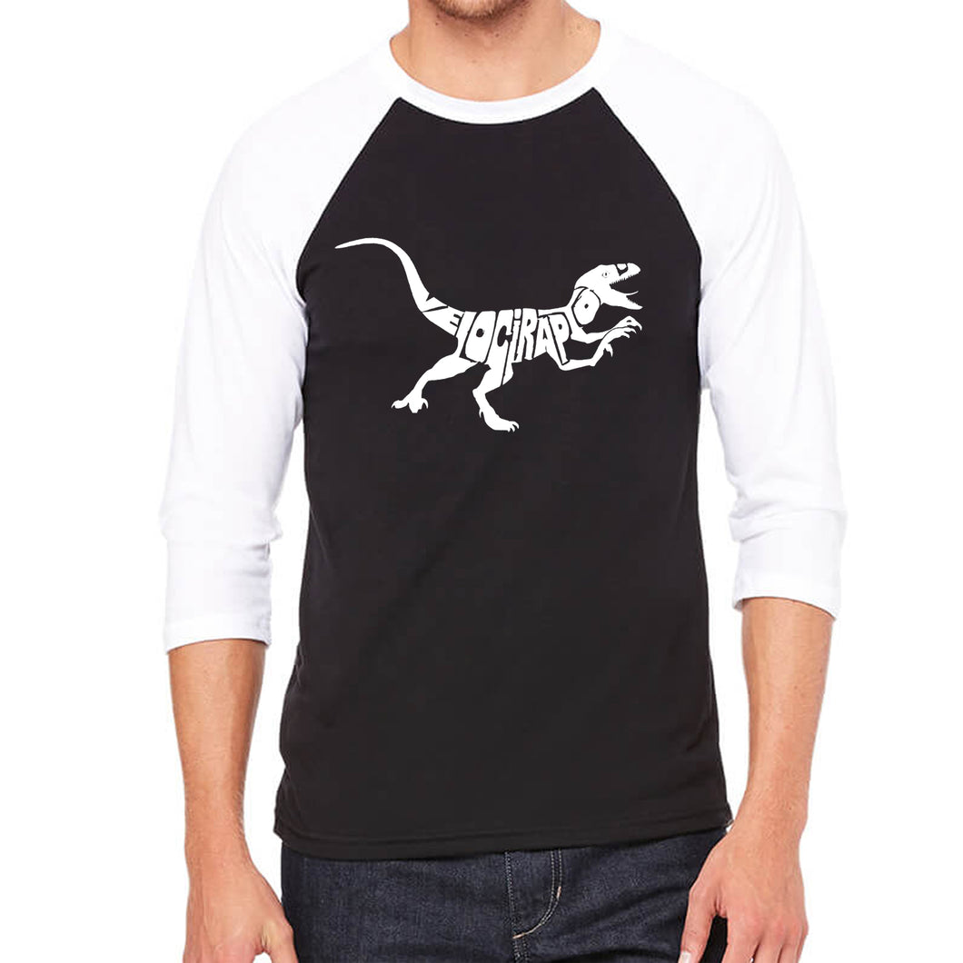 LA Pop Art Men's Raglan Baseball Word Art T-shirt - Velociraptor
