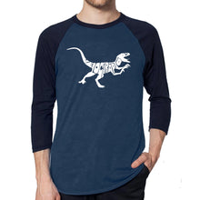 Load image into Gallery viewer, LA Pop Art Men's Raglan Baseball Word Art T-shirt - Velociraptor