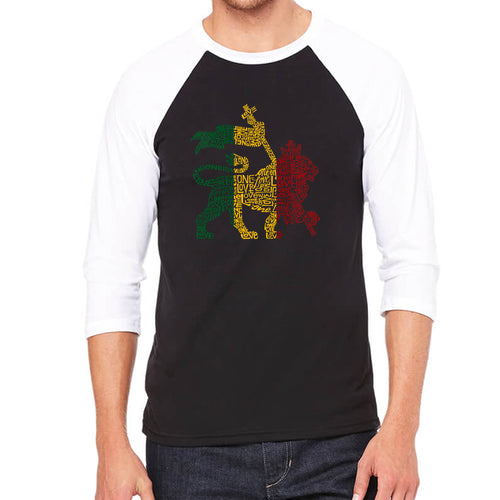 LA Pop Art Men's Raglan Baseball Word Art T-shirt - Rasta Lion - One Love