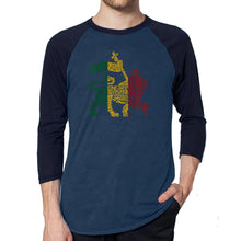 Load image into Gallery viewer, LA Pop Art Men's Raglan Baseball Word Art T-shirt - Rasta Lion - One Love