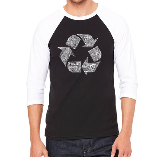 LA Pop Art Men's Raglan Baseball Word Art T-shirt - 86 RECYCLABLE PRODUCTS