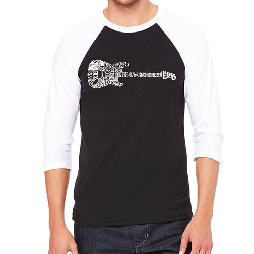 LA Pop Art Men's Raglan Baseball Word Art T-shirt - Rock Guitar