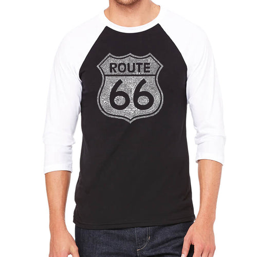 LA Pop Art Men's Raglan Baseball Word Art T-shirt - CITIES ALONG THE LEGENDARY ROUTE 66