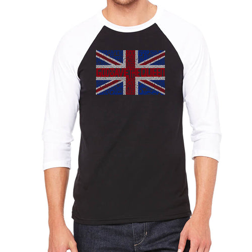 LA Pop Art Men's Raglan Baseball Word Art T-shirt - God Save The Queen