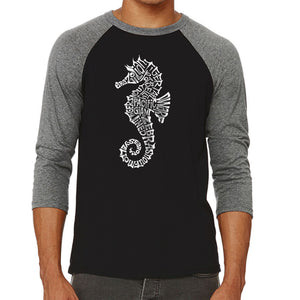 LA Pop Art Men's Raglan Baseball Word Art T-shirt - Types of Seahorse