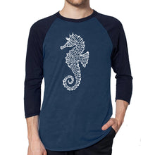 Load image into Gallery viewer, LA Pop Art Men's Raglan Baseball Word Art T-shirt - Types of Seahorse