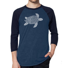 Load image into Gallery viewer, LA Pop Art Men's Raglan Baseball Word Art T-shirt - Turtle