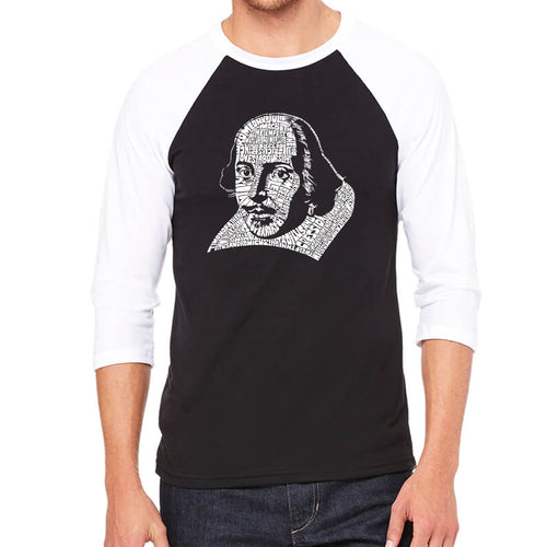 LA Pop Art Men's Raglan Baseball Word Art T-shirt - THE TITLES OF ALL OF WILLIAM SHAKESPEARE'S COMEDIES & TRAGEDIES