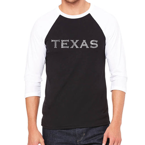 LA Pop Art Men's Raglan Baseball Word Art T-shirt - THE GREAT CITIES OF TEXAS
