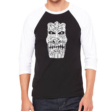 Load image into Gallery viewer, LA Pop Art Men's Raglan Baseball Word Art T-shirt - TIKI - BIG KAHUNA
