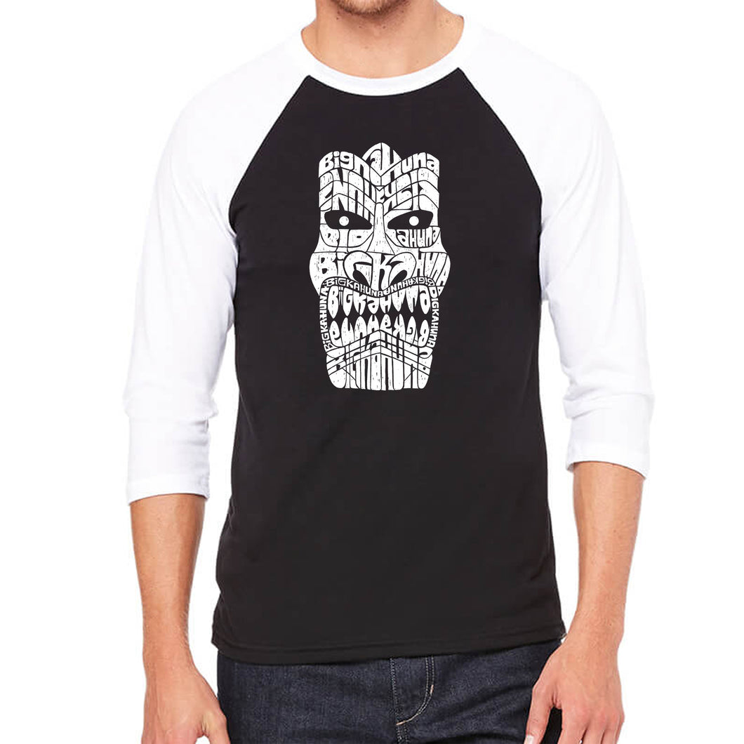 LA Pop Art Men's Raglan Baseball Word Art T-shirt - TIKI - BIG KAHUNA