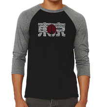 Load image into Gallery viewer, LA Pop Art Men's Raglan Baseball Word Art T-shirt - Tokyo Sun