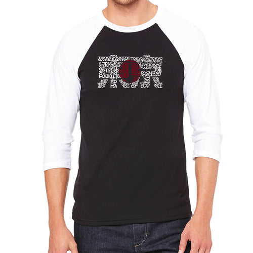 LA Pop Art Men's Raglan Baseball Word Art T-shirt - Tokyo Sun