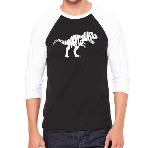 LA Pop Art Men's Raglan Baseball Word Art T-shirt - TYRANNOSAURUS REX