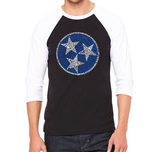 LA Pop Art Men's Raglan Baseball Word Art T-shirt - Tennessee Tristar