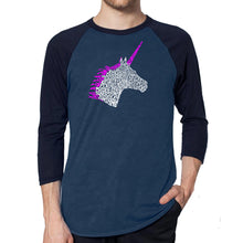 Load image into Gallery viewer, LA Pop Art Men's Raglan Baseball Word Art T-shirt - Unicorn