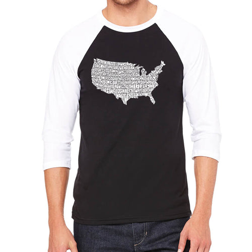 LA Pop Art Men's Raglan Baseball Word Art T-shirt - THE STAR SPANGLED BANNER