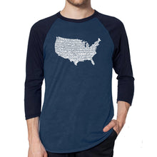 Load image into Gallery viewer, LA Pop Art Men's Raglan Baseball Word Art T-shirt - THE STAR SPANGLED BANNER