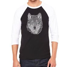 Load image into Gallery viewer, LA Pop Art Men's Raglan Baseball Word Art T-shirt - Wolf