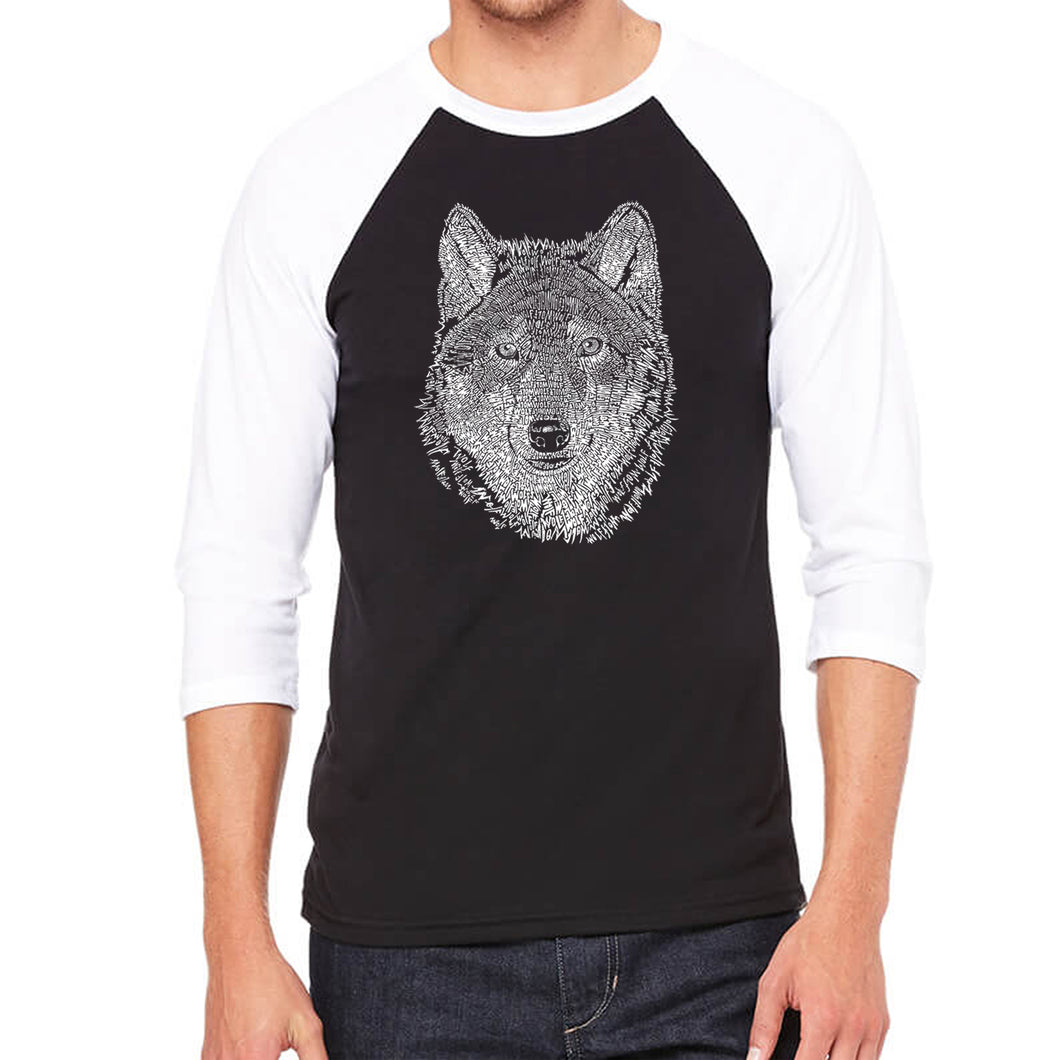 LA Pop Art Men's Raglan Baseball Word Art T-shirt - Wolf