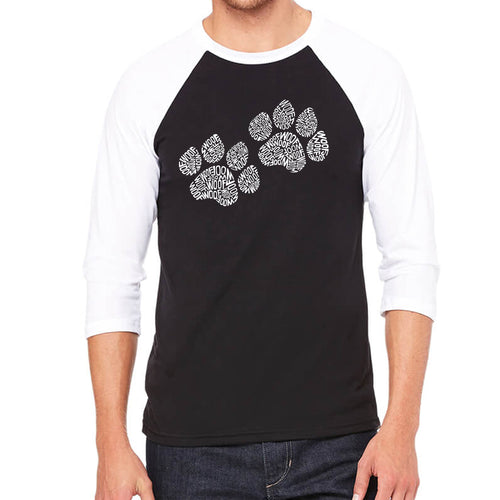 LA Pop Art Men's Raglan Baseball Word Art T-shirt - Woof Paw Prints