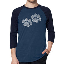 Load image into Gallery viewer, LA Pop Art Men's Raglan Baseball Word Art T-shirt - Woof Paw Prints
