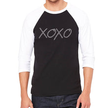 Load image into Gallery viewer, LA Pop Art Men's Raglan Baseball Word Art T-shirt - XOXO