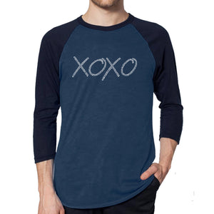 LA Pop Art Men's Raglan Baseball Word Art T-shirt - XOXO