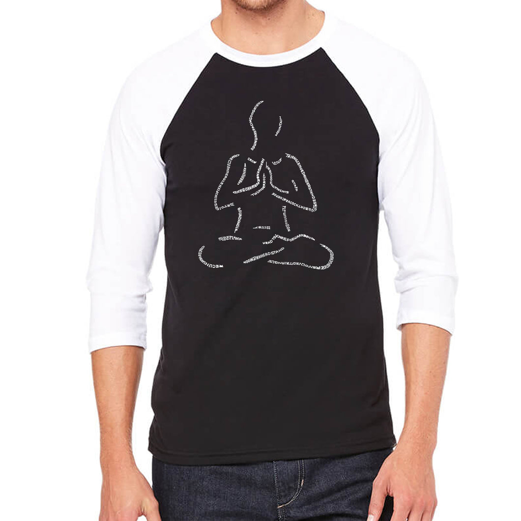 LA Pop Art Men's Raglan Baseball Word Art T-shirt - POPULAR YOGA POSES