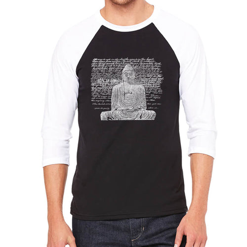 LA Pop Art Men's Raglan Baseball Word Art T-shirt - Zen Buddha