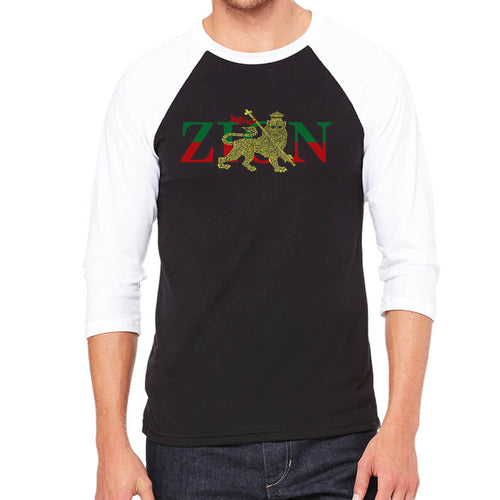 LA Pop Art Men's Raglan Baseball Word Art T-shirt - Zion - One Love