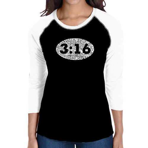 LA Pop Art Women's Raglan Baseball Word Art T-shirt - John 3:16