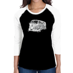 LA Pop Art Women's Raglan Baseball Word Art T-shirt - THE 70'S